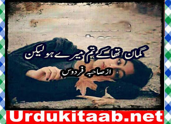 Guman Tha K Tum Mery Ho Lakin Urdu Novel By Sahiba Firdous Download